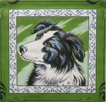 P1260 Lee's Needle Arts Border Collie. Hand-painted canvas - 13 Mesh 2012 12in x 12in