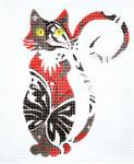 AO1307SKU Lee's Needle Arts Butterfly Cat 18M  5.5in. x 6.5in.