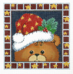 AO1294SKU Lee's Needle Arts Christmas Bear Hand-painted canvas - 16 Mesh 8in. x 8in.