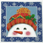 AO1292SKU Lee's Needle Arts Snowman Hand-painted canvas - 16 Mesh 8in. x 8in.