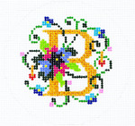 BJ01BSKU Lee's Needle Arts Jewelry Case Top/ B Hand-painted canvas - 18 Mesh 3in. ROUND