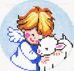BJ109SKU Lee's Needle Arts Angel & Lamb Hand-painted canvas - 18 Mesh 3in. ROUND