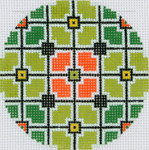 BJ191SKU Lee's Needle Arts Geometric Squares Hand Painted Canvas - 18 Mesh 2011 3in Round