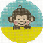 BJ180 Lee's Needle Arts Baby Monkey Hand-painted canvas - 18 Mesh 3in. Round
