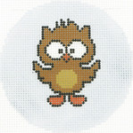 BJ176SKU Lee's Needle Arts Baby Owl Hand-painted canvas - 18 Mesh 3in. Round