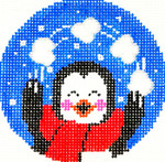 BJ100SKU Lee's Needle Arts Juggling Penguin Hand-painted canvas - 18 Mesh 3in. ROUND