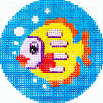 BJ77 Lee's Needle Arts Fish Hand-painted canvas - 18 Mesh 3in. ROUND
