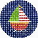 BJ148SKU Lee's Needle Arts Sailboat Hand-painted canvas - 18 Mesh 3in. ROUND