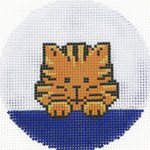 BJ177SKU Lee's Needle Arts Tiger Hand-painted canvas - 18 Mesh 3in. Round