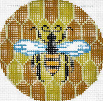 BJ154SKU Lee's Needle Arts Bee & Hive Hand-painted canvas - 18 Mesh 3in. ROUND