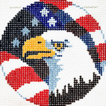 BJ139SKU Lee's Needle Arts American Eagle Hand-painted canvas - 18 Mesh 3in. ROUND