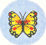 BJ117SKU Lee's Needle Arts Butterfly Hand-painted canvas - 18 Mesh 3in. ROUND