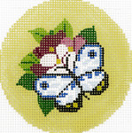 BJ170SKU Lee's Needle Arts Blue Butterfly Hand-painted canvas - 18 Mesh 3in. Round