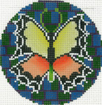 BJ182SKU Lee's Needle Arts Orange and Yellow Butterfly Hand-painted canvas - 18 Mesh 3in. Round