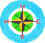 BJ60SKU Lee's Needle Arts Compass Hand-painted canvas - 18 Mesh 3in. ROUND