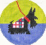 BJ128SKU Lee's Needle Arts Scottie Hand-painted canvas - 18 Mesh 3in. ROUND