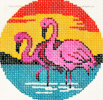 BJ143SKU Lee's Needle Arts  Flamingo Hand-painted canvas - 18 Mesh 3in. ROUND