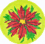 BJ101SKU Lee's Needle Arts Poinsettia Red Hand-painted canvas - 18 Mesh 3in. ROUND
