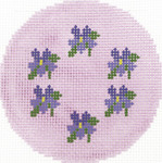 BJ157 Lee's Needle Arts  Violets Hand-painted canvas - 18 Mesh 3in. Round