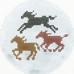 BJ168SKU Lee's Needle Arts Horses Hand-painted canvas - 18 Mesh 3in. Round
