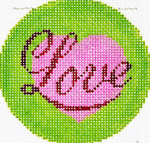 BJ130SKU Lee's Needle Arts Love Hand-painted canvas - 18 Mesh 3in. ROUND