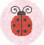 BJ76SKU Lee's Needle Arts Ladybug Hand-painted canvas - 18 Mesh 3in. ROUND