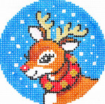 BJ93SKU Lee's Needle Arts Rudolph Hand-painted canvas - 18 Mesh 3in. ROUND