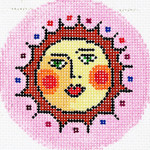BJ127SKU Lee's Needle Arts Sun Face Hand-painted canvas - 18 Mesh 3in. ROUND