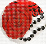 BJ208 Lee's Needle Arts  Scarlet Rose 18M 3in. round