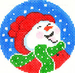 BJ96SKU Lee's Needle Arts Happy Snowman Hand-painted canvas - 18 Mesh 3in. ROUND