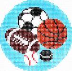 BJ64SKU Lee's Needle Arts All Sports Hand-painted canvas - 18 Mesh 3in. ROUND