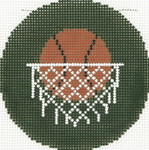 BJ159SKU Lee's Needle Arts Basketball Hand-painted canvas - 18 Mesh 3in. Round