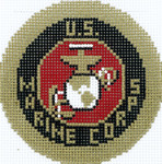 BJ156SKU Lee's Needle Arts U.S. Marine Corps Hand-painted canvas - 18 Mesh 3in. Round