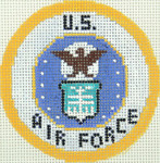 BJ206SKU Lee's Needle Arts US Air Force Hand-painted canvas - 18 Mesh 2012 3in ROUND