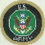 BJ204SKU Lee's Needle Arts US Army Hand-painted canvas - 18 Mesh 2012 3in ROUND