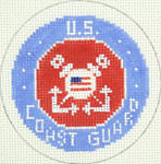 BJ207SKU Lee's Needle Arts US Coast Guard Hand-painted canvas - 18 Mesh 3in ROUND