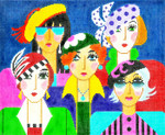 BF35SKU Lee's Needle Arts 5 Lady Friends Hand-painted canvas - 18 Mesh 10.25in. X 8.25in.
