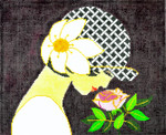 BF06SKU Lee's Needle Arts Rose Lady Hand-painted canvas - 18 Mesh 10.25in. X 8.25in.