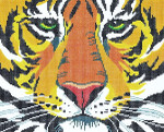 BF05-WSKU Lee's Needle Arts Tiger Face Hand-painted canvas - 13 Mesh 10.25in. X 8.25in.