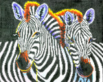 BF29SKU Lee's Needle Arts Zebras Hand-painted canvas - 18 Mesh 10.25in. X 8.25in.