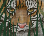 BF68SKU Lee's Needle Arts A Tiger Awaits - Leigh Design Exclusive Hand-painted canvas - 13 Mesh 2011 10.25in x 8.25in