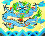 BF32SKU Lee's Needle Arts  Blue Dragon Hand-painted canvas - 18 Mesh 10.25in. X 8.25in.