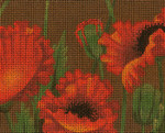 BF69SKU Lee's Needle Arts Poppy Fields - Leigh Design Exclusive  Hand-painted canvas - 13 Mesh 2011 10.25in x 8.25in