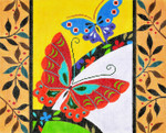 BF51SKU Lee's Needle Arts Butterflies/Border Hand-painted canvas - 18 Mesh 10.25in. X 8.25in.