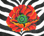 BF43SKU Lee's Needle Arts  Poppy/Animal Skin Hand-painted canvas - 13 Mesh 10.25in. X 8.25in.