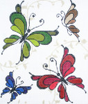 BG103SKU Lee's Needle Arts Butterflies Hand-painted canvas 18 Mesh