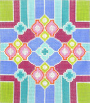 BG109SKU Lee's Needle Arts  Geometric Lime and Plum Hand-painted canvas - 18 Mesh