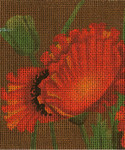 BG92SKU Lee's Needle Arts Poppy Fields - Leigh Design Exclusive Hand-painted canvas - 18 Mesh