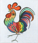 BG117SKU Lee's Needle Arts Multicolor Rooster - Leigh Design Exclusive  Hand-painted canvas - 18 Mesh