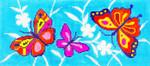 BR56SKU Lee's Needle Arts Butterflies Hand-painted canvas - 18 Mesh 8.25in. x 4in.